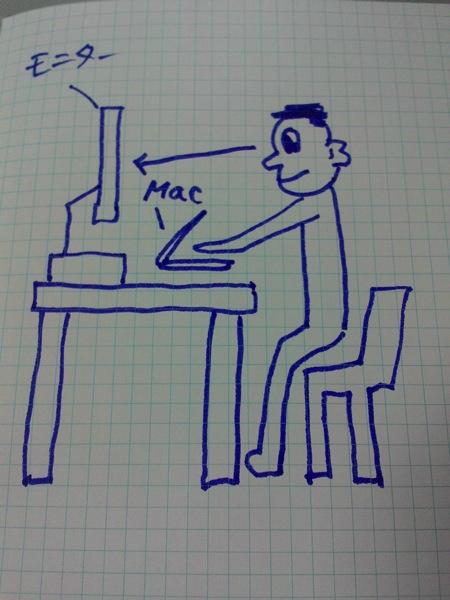 MacBookAirにつないだ外部ディスプレイを使う様子のイラスト